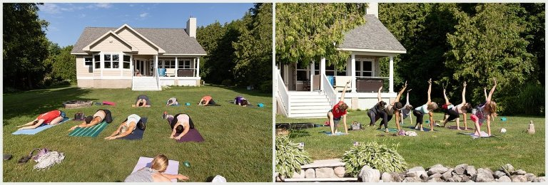 bridal party yoga on the lawn